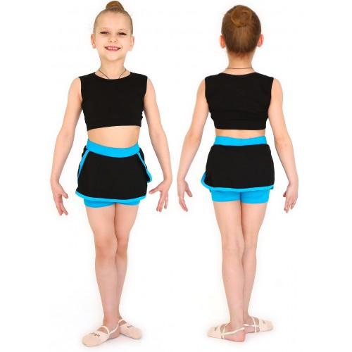Юбка-шорты гимнаст. с окантовкой INDIGO SM-350 черно-бирюзовая