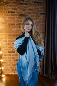 Роскошная классическая шотландская  шаль, высокая плотность, 100 % драгоценный кашемир, цвет Светлый Лазурит PALE LAPIS CLASSIC CASHMERE STOLE (премиум).