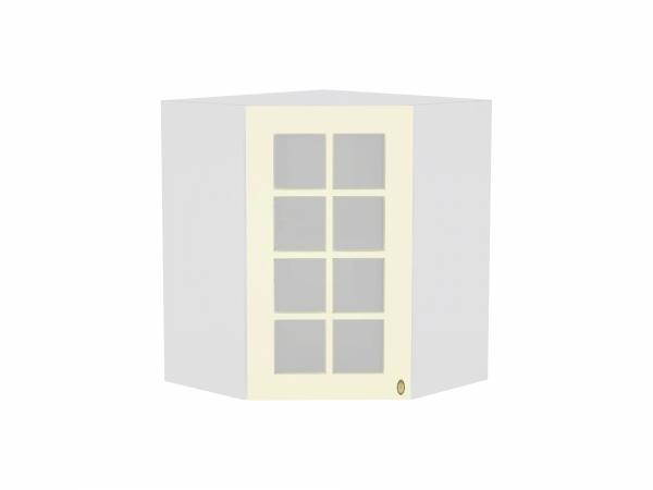 Шкаф верхний угловой Прованс ВУ599 со стеклом (ваниль)