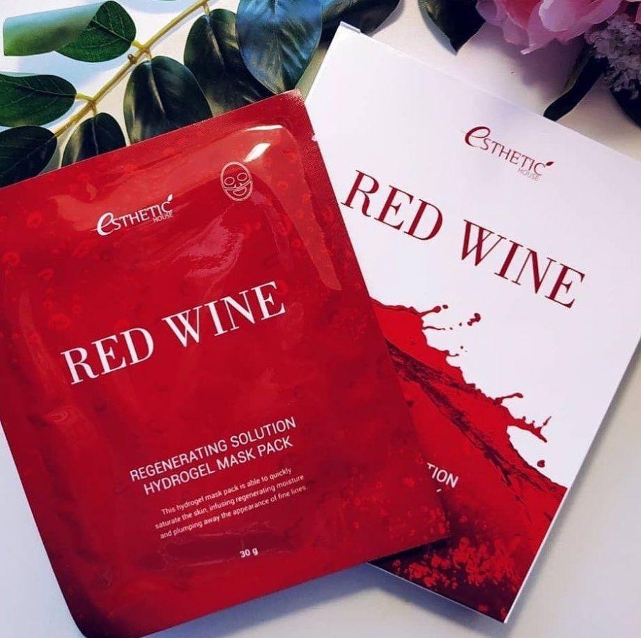 Гидрогелевая антиоксидантная маска для омоложения и упругости Esthetic House Red Wine Regenerating Solution Hydrogel Mask Pack