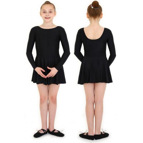 Купальник гимнастический с юбкой бифлекс INDIGO SM-337 черный