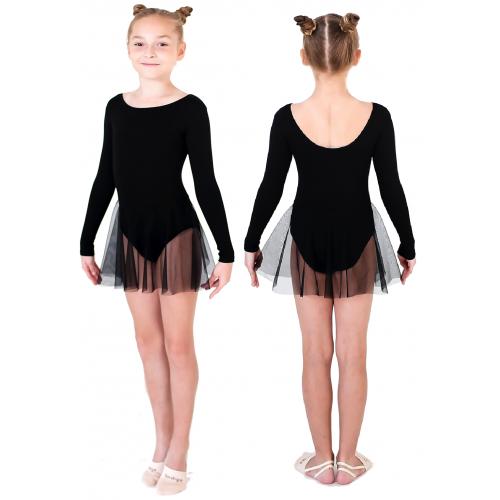 Купальник гимнастический с юбкой сетка INDIGO SM-222 черный