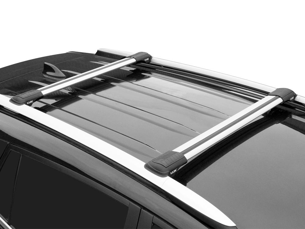 Багажник на рейлинги Nissan X-Trail T32, Lux Hunter, серебристый, крыловидные аэродуги