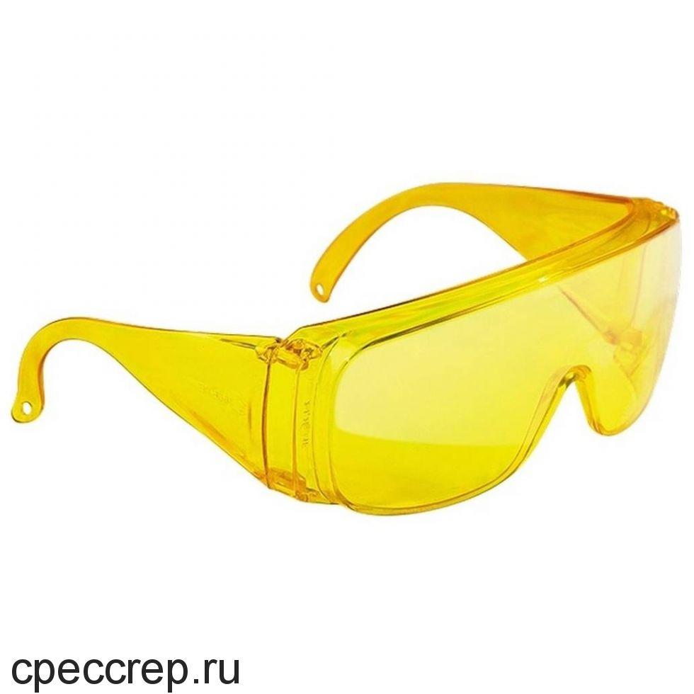 Очки поликарбонатные, цвет линз - жёлтый. Асферическая линза - 180° защита. Покрытие DX. 100% УФ защита.