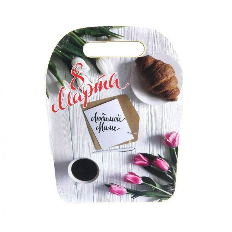 Разделочная доска сувенирная 8 марта ЛЮБИМОЙ МАМЕ (рисунок Тюльпаны)