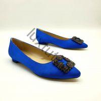 Балетки Маноло Бланик (Manolo Blahnik) синие купить в интернет магазине