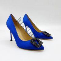 Женские туфли Маноло Бланик (Manolo Blahnik) синие купить в интернет магазине