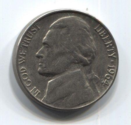 5 центов 1964 года США VF-