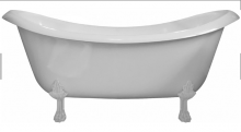 Ванна мраморная AquaStone Лиона с белыми ножками