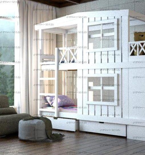 Кровать двухъярусная Домик Factory №19