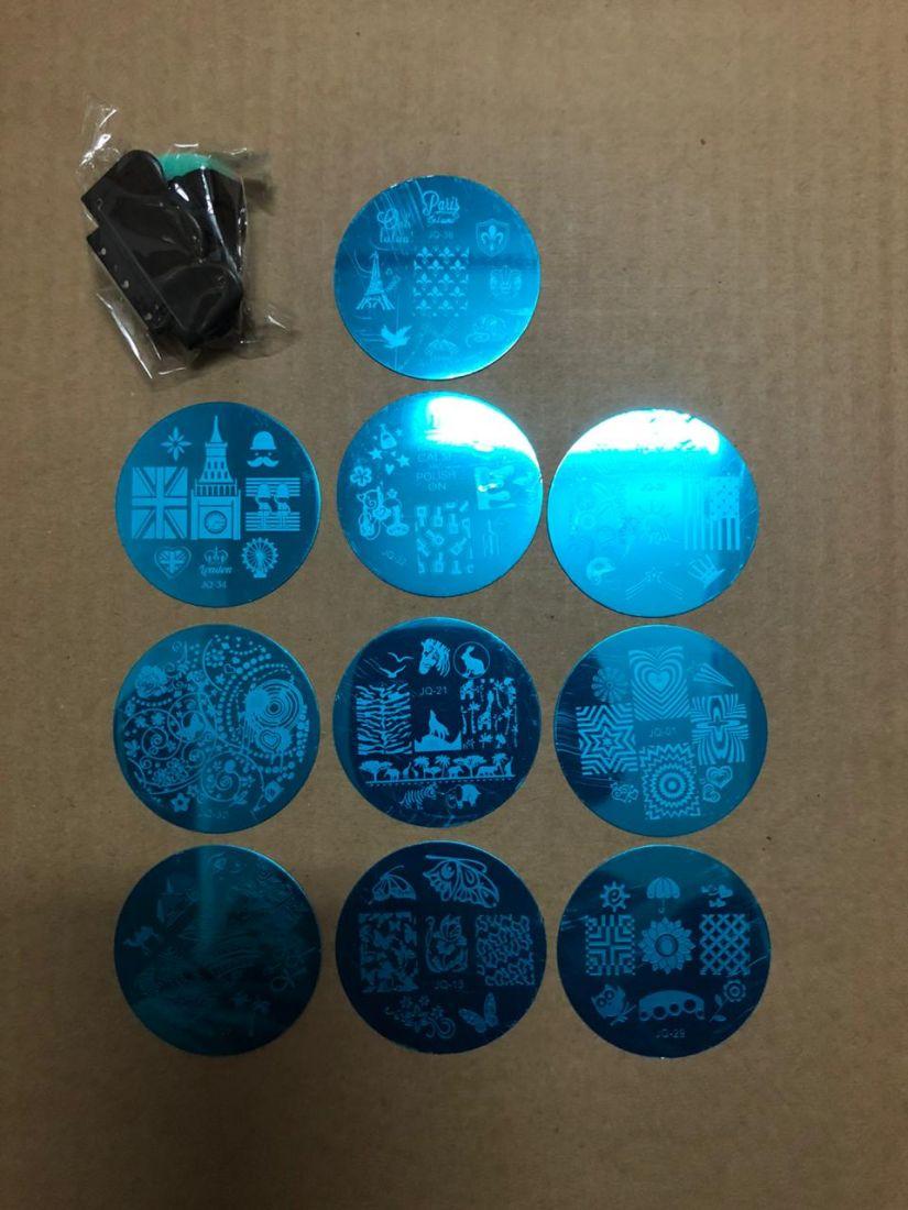 набор для стемпинга (10 пластинок + штамп и скребок)
