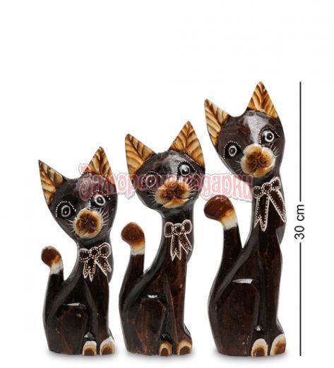 """99-129 Фигурка """"Кошка"""" н-р из трех 30,25,20 см (албезия, о.Бали)"""
