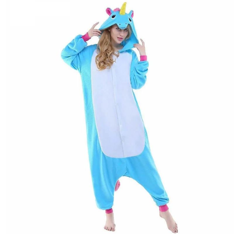 Пижама Кигуруми Единорог Радужный Голубой  Премиум