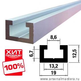 Шина-направляющая T-track  (профиль-шина) 19 мм, анодированная, серебро матовое 1 м TR019.1000 ХИТ!