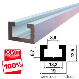 Шина-направляющая T-track  (профиль-шина) 19 мм анодированная, серебро матовое 1,5 м TR019.1500 ХИТ!