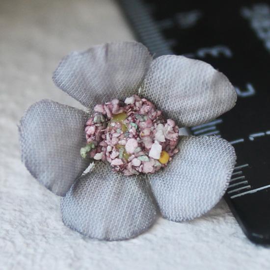 Тканевые цветы сине-серый Кукольная миниатюра