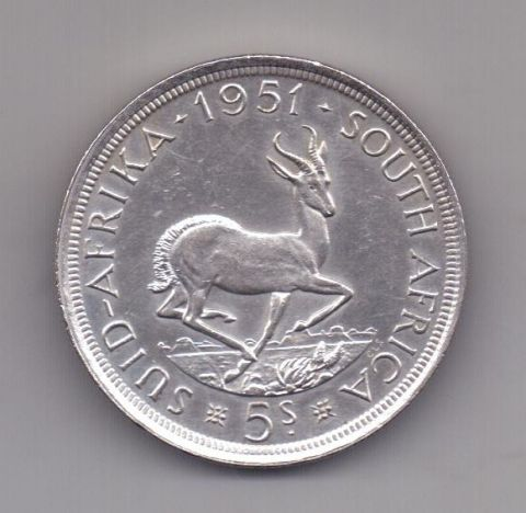 5 шиллингов 1951 года AUNC ЮАР Великобритания