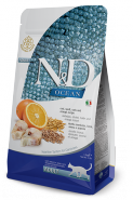 N&D OCEAN LG ADULT CAT CODFISH, SPELT, OATS AND ORANGE Треска, спельта, овес и апельсин для взрослых кошек, 10 кг