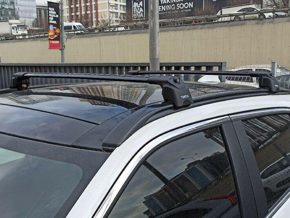 Багажник на крышу Mitsubishi Eclipse Cross, Turtle Air 2, аэродинамические дуги на интегрированные рейлинги (черный цвет)