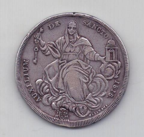 1 скудо 1815 года XF Редкий год Ватикан