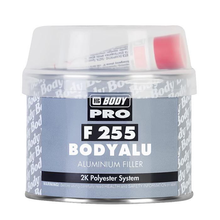 "HB Body Шпатлевка PRO F255 ALU с алюминиевым наполнителем, название цвета ""Серый"", объем 1,8кг."