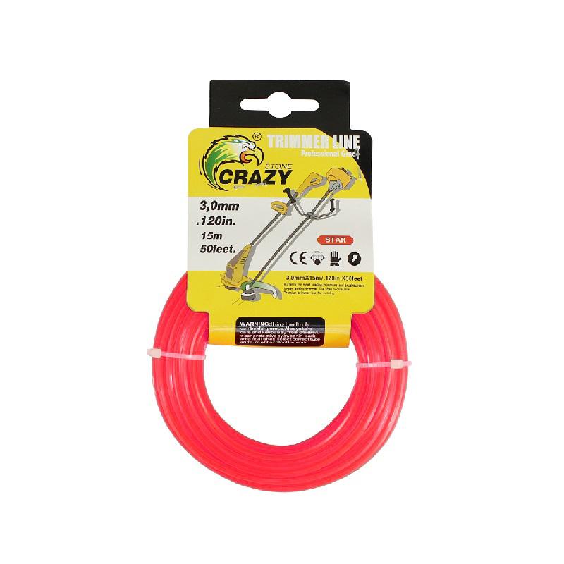 Леска для триммера Crazy Stone диаметр 3 мм (цвет красный)