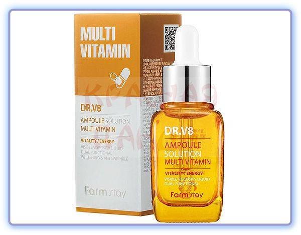 Осветляющая мультивитаминная сыворотка FarmStay DR.V8 Ampoule Solution Multi Vitamin