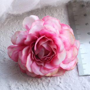 Тканевый цветок Бело-малиновый  5см