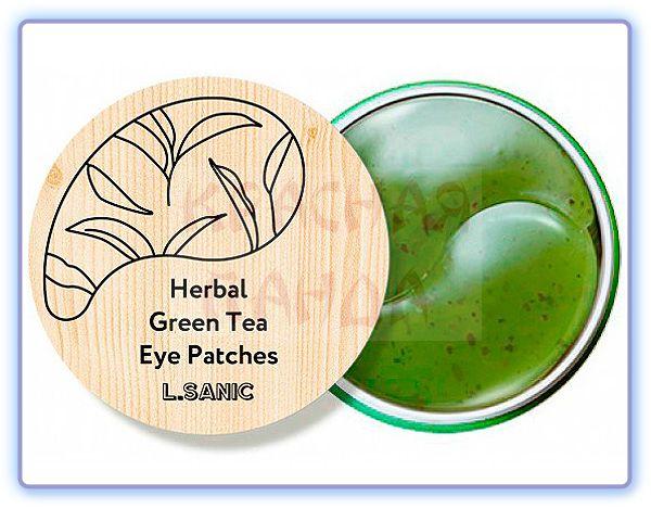 Гидрогелевые патчи с экстрактом зеленого чая L.Sanic Herbal Green Tea Hydrogel Eye Patches