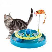Игрушка-Трек Для Кошек С Двумя Мячиками Cat Scratch Pan (цвет голубой)_2