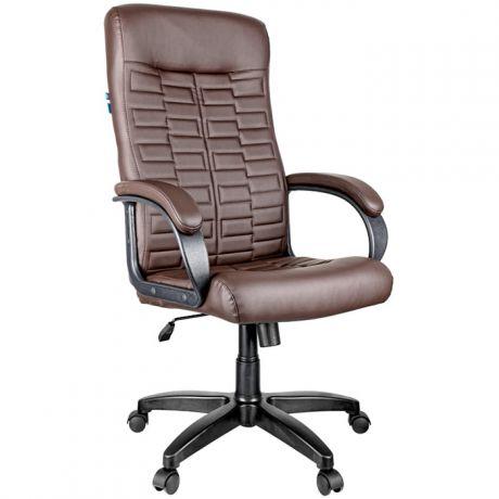 """Кресло руководителя Helmi HL-E80 """"Ornament"""", экокожа коричневая, мягкий подлокотник"""