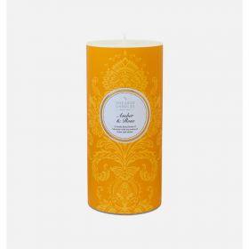 """Шотландская ароматическая свеча-колонна  """"Амбра и Роза"""" AMBER AND ROSE PILLAR CANDLE."""