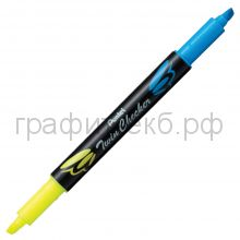Маркер текст.Pentel Twin Checker двухцветный желтый-голубой SLW8-GS