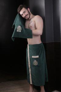 """Набор для сауны """"KARNA"""" мужской велюром KORAL 1/2 Темно-зеленый"""