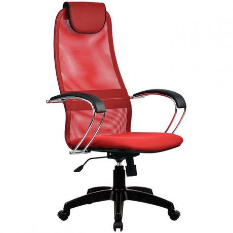 """Кресло руководителя Метта """"Business"""" BK-8 PL, ткань-сетка красная №22, механизм качания"""