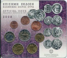 Официальный набор евро-монет  Греция 2008 BU (8 монет)