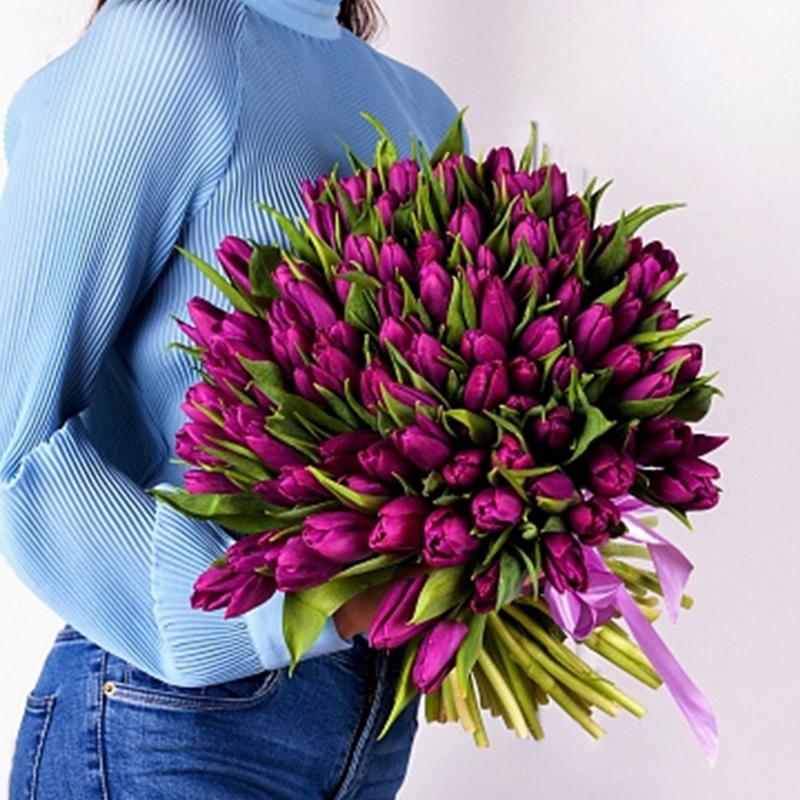 Акция! 101 тюльпан (сиреневый)