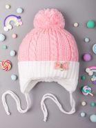 РБ Шапка вязаная для девочки с бубоном, на завязках, на отвороте бантик с бусинкой, розовый