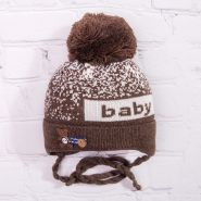 РБ Шапка вязаная с бубоном, на завязках, сбоку нашивка, baby, коричневый
