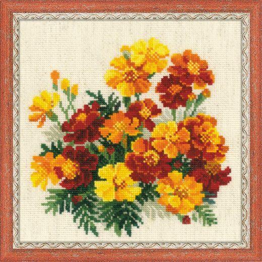 Набор для вышивания крестом Бархатцы №1556 фирма Риолис