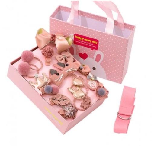 Подарочный набор заколок для девочек, 18 предметов, Цвет Темно-Розовый