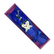 Букет из мыльных роз с мишкой в коробке, 37х11х8 см, синий