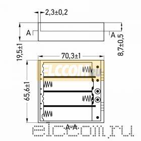 Батарейный отсек 4 х АА (с проводами, закрытый)