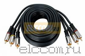 Шнур 3RCA Plug - 3RCA Plug 3М (GOLD) - металл REXANT