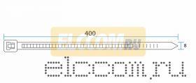 Хомут nylon 8.0 х 400 мм 100 шт белый REXANT