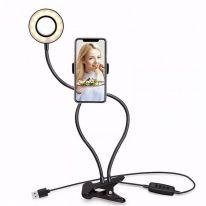 Гибкая светодиодная кольцевая лампа с держателем смартфона на прищепке Professional Live Stream