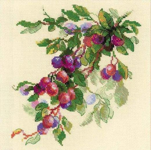 Набор для вышивания крестом Ветка сливы №1616 фирма Риолис