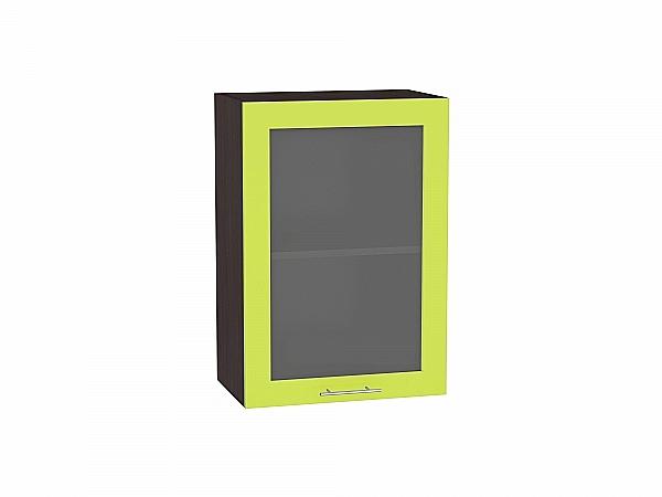 Шкаф верхний Валерия В509 со стеклом (лайм глянец)