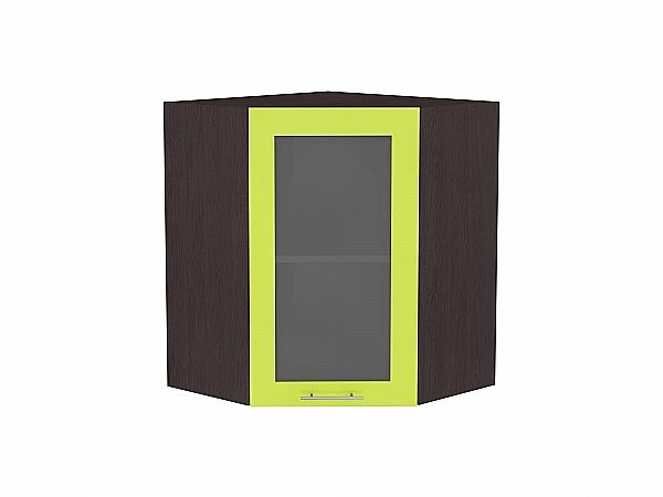 Шкаф верхний угловой Валерия ВУ590 со стеклом (лайм глянец)