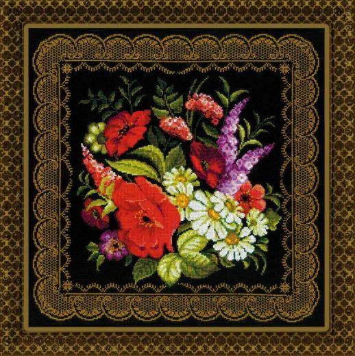 Набор для вышивания крестом Подушка/панно Жостовская роспись №1642 фирма Риолис